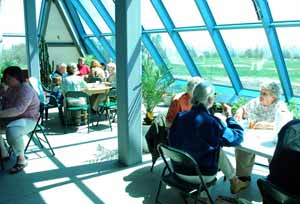 A community lunch event, held in the pyramid.